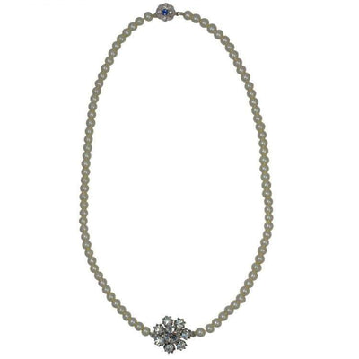 Lovett & Co Necklace Bridal Crystal Flower Pearl Necklace Cream