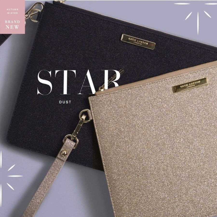The Lovely Little Label Bag Champagne Glitter Stardust Clutch Bag