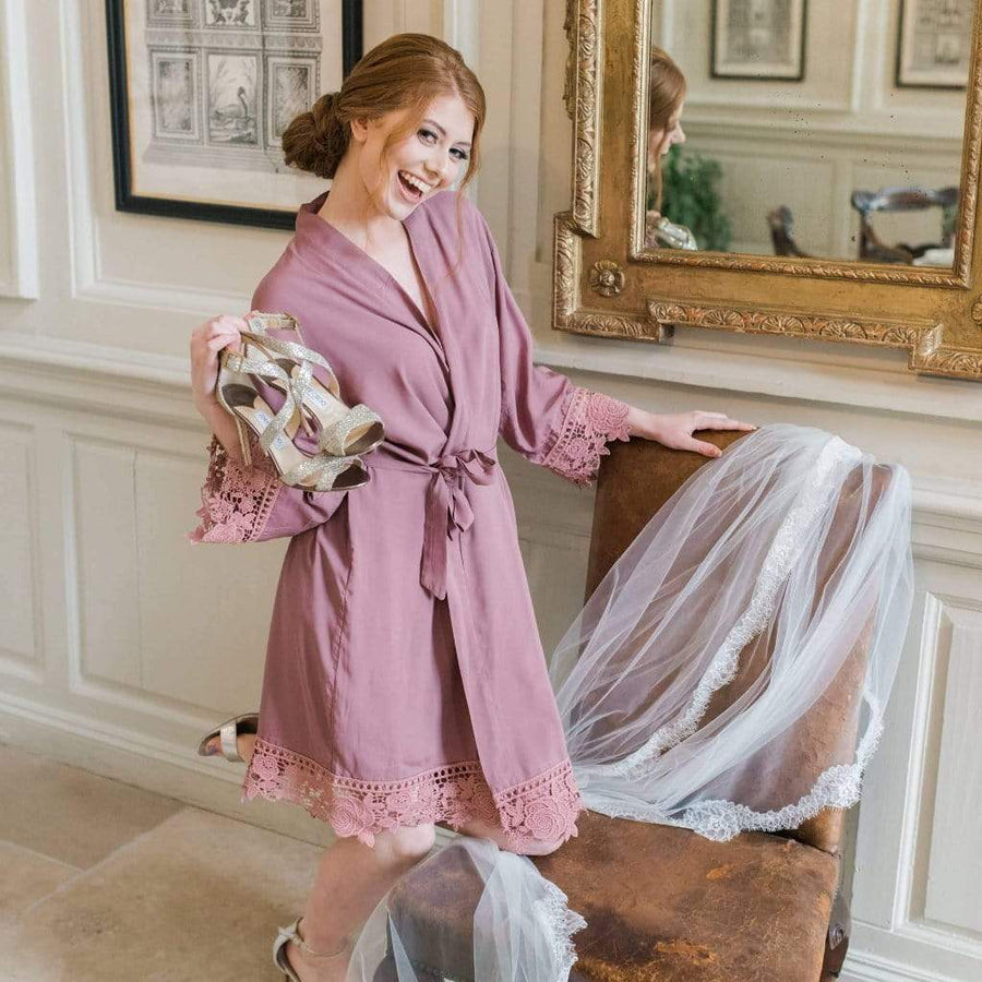 Lace Trim Mauve Bridesmaid Robe