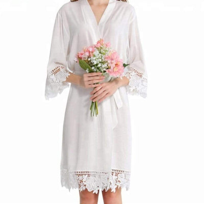 The Lovely Little Label Bridal Robes Lace Trim White Bride Robe