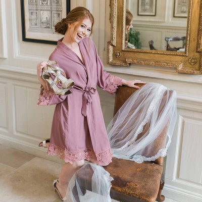 The Lovely Little Label Bridal Robes Set of Bride & Bridesmaid Robes in Mauve