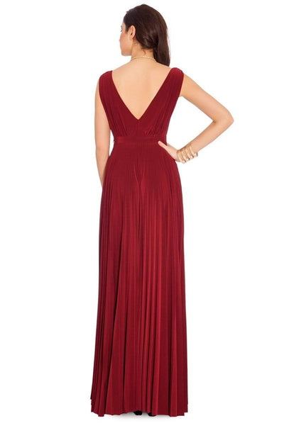 The Lovely Little Label Dress Burgundy Pleated Maxi Dress