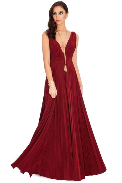 The Lovely Little Label Dress S/M Burgundy Pleated Maxi Dress