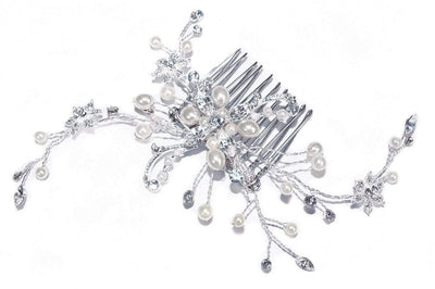 The Lovely Little Label Hair Accessories Ivory & Co Silver Pearl Spray Comb