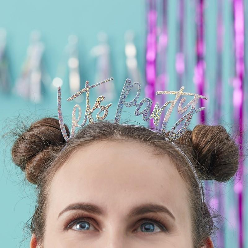 The Lovely Little Label Iridescent Foiled Lets Party HEAD BANDS - GOOD VIBES