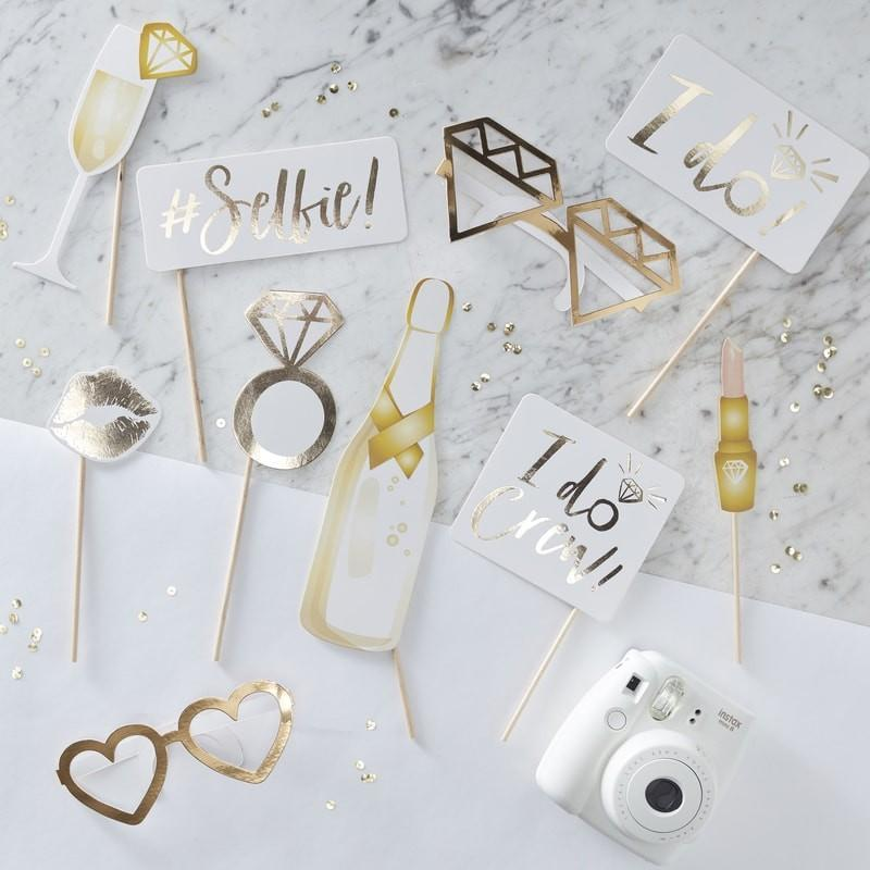 The Lovely Little Label Partyware Gold Foiled I Do Crew PHOTO BOOTH PROPS - I DO CREW