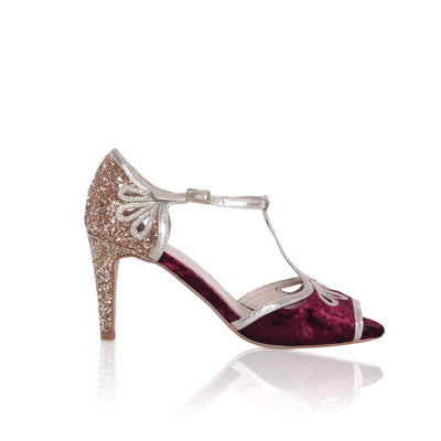 The Lovely Little Label Shoes EU 36 UK 3 / Berry/Gold Esme Glitter Velvet Shoes