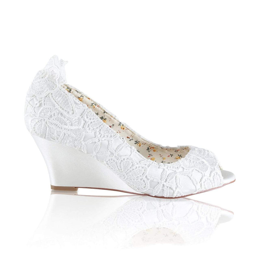 The Lovely Little Label Shoes EU 36 UK 3 / Satin Flora Ivory Wedge Wedding Shoes