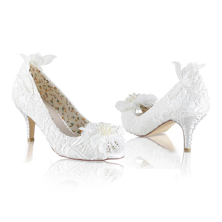 Fran Ivory Low Heel Wedding Shoes