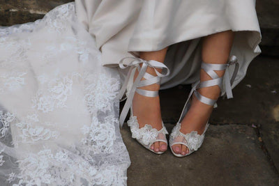 The Lovely Little Label Shoes Quinn Ivory Satin Ribbon Tied Wedding Shoes