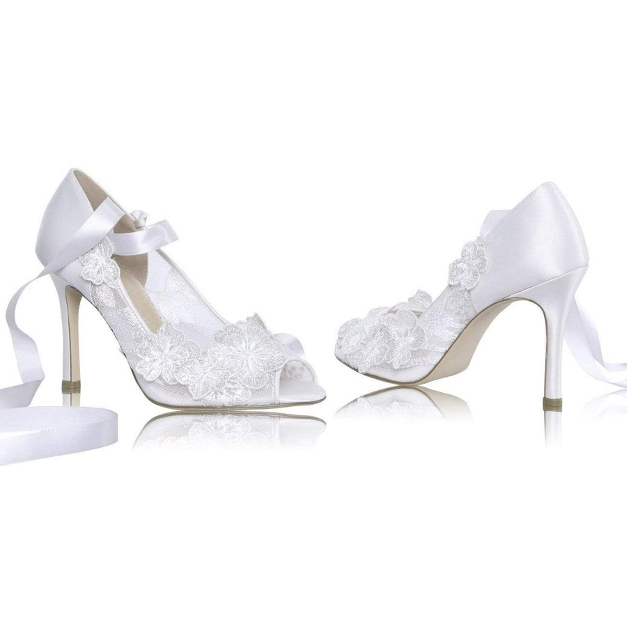 Quinn Ivory Satin Ribbon Tied Wedding Shoes