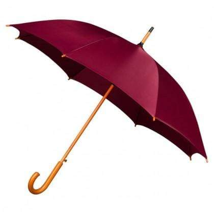 The Lovely Little Label Umbrella We're Singing in the Rain - 5 Maroon Wooden Handle Wedding Umbrellas