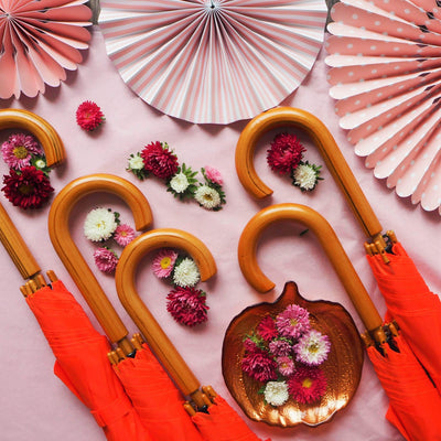 The Lovely Little Label Umbrella We're Singing in the Rain - 5 Orange Wooden Handle Wedding Umbrellas