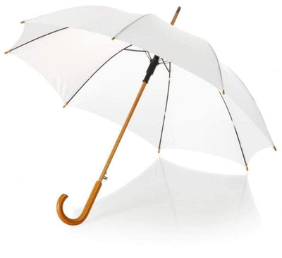 The Lovely Little Label Umbrella We're Singing in the Rain - 5 White Wooden Handle Wedding Umbrellas