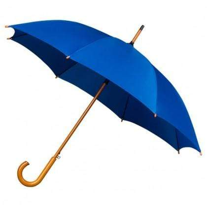 The Lovely Little Label Umbrella We're Singing in the Rain Blue- 5 Blue Wooden Handle Wedding Umbrellas