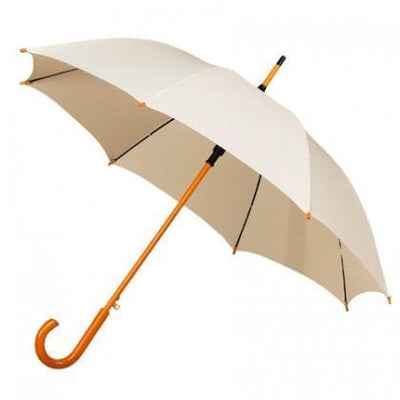 The Lovely Little Label Umbrella We're Singing in the Rain Ivory- 5 Ivory Wooden Handle Wedding Umbrellas
