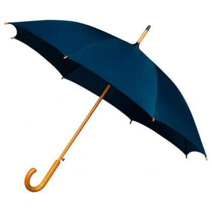 The Lovely Little Label Umbrella We're Singing in the Rain Navy- 5 Navy Wooden Handle Wedding Umbrellas