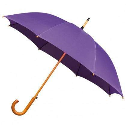 The Lovely Little Label Umbrella We're Singing in the Rain Purple- 5 Purple Wooden Handle Wedding Umbrellas