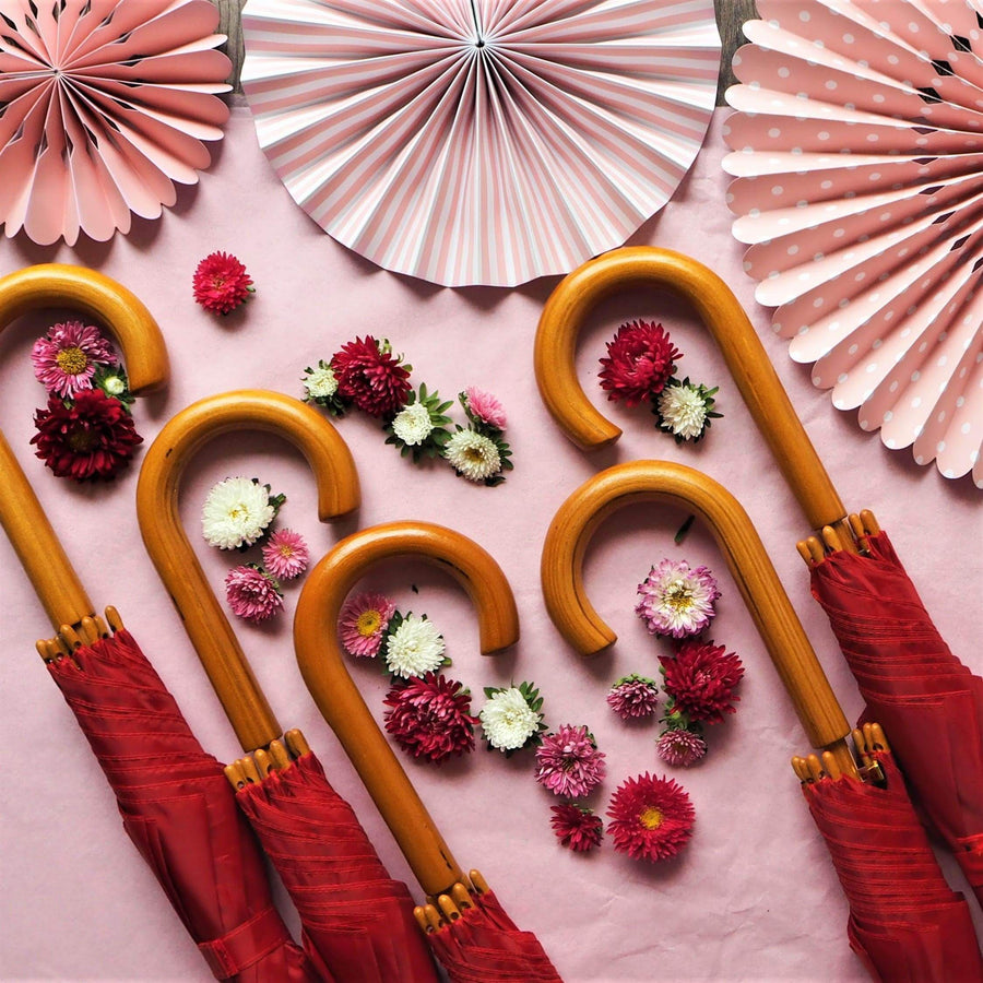 We're Singing in the Rain Red- 5 Red Wooden Handle Wedding Umbrellas