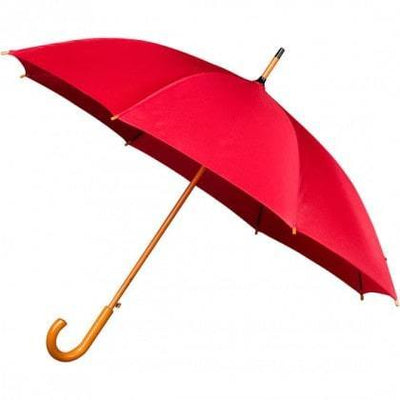 The Lovely Little Label Umbrella We're Singing in the Rain Red- 5 Red Wooden Handle Wedding Umbrellas