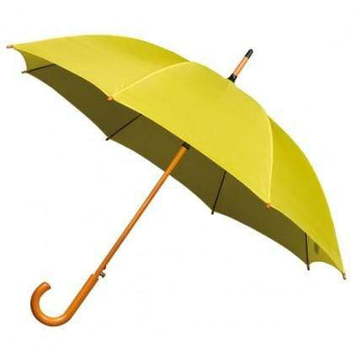 The Lovely Little Label Umbrella We're Singing in the Rain yellow- 5 yellow Wooden Handle Wedding Umbrellas
