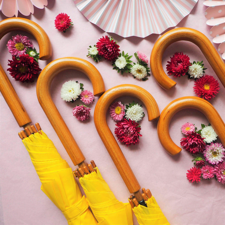 We're Singing in the Rain yellow- 5 yellow Wooden Handle Wedding Umbrellas