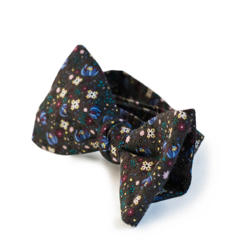 Charcoal Floral Bow Tie