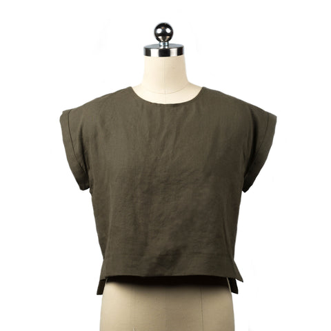 Hemp crop top handmade Colorado olive green