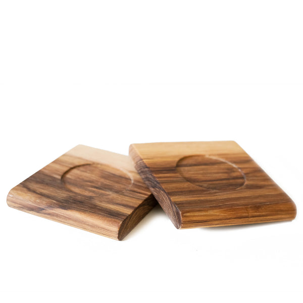 Wooden coasters hickory finished with mineral oil