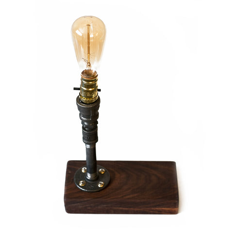 Walnut Base Edison Lamp