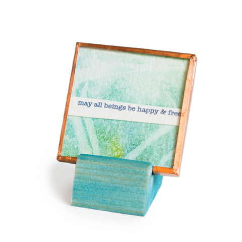 "Mantra collage copper blue aqua glass art ""may all beings be happy & free"" watercolor stamps"