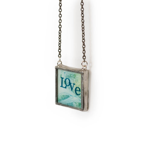 Love token handmade glass art hanging blue and gree