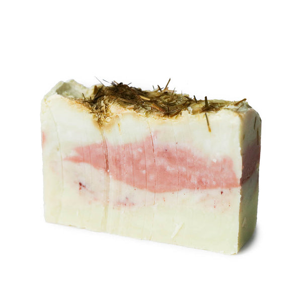 Handmade lemongrass + geranium organic olive oil soap made in Maine
