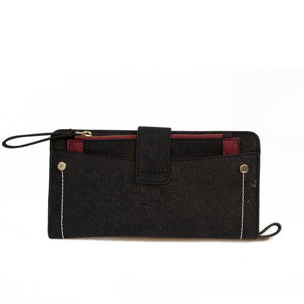Kim Clutch Wallet - Black + Maroon - Rudder & Fern