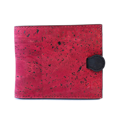 Maroon cork wallet Arden style red vegan