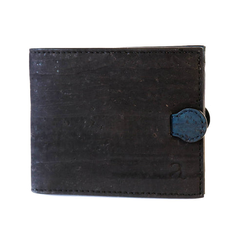 Black and blue cork wallet secret pull tab