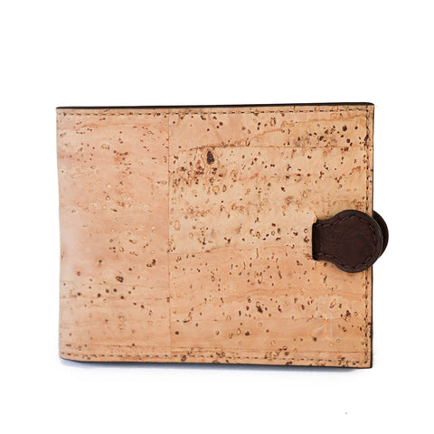 Natural vegan cork wallet brown tab magnetic closure