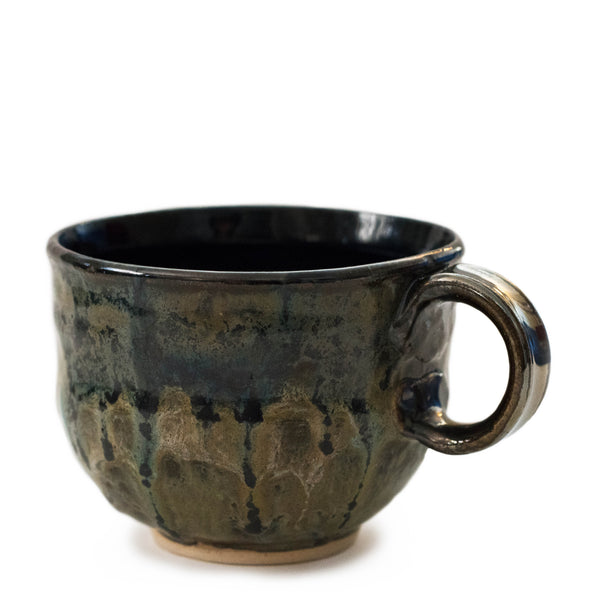 Green black earthy coffee mug handmade ceramic Colorado