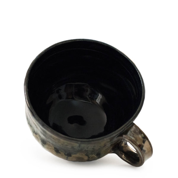 Handmade ceramic mug Colorado coffee cup black and green