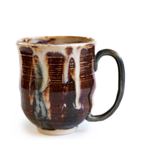Latte coffee mug ceramic mug reddish brown green and white melty