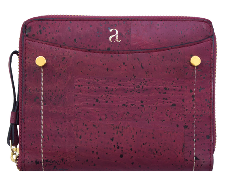 Brin Travel Wallet - Maroon + Brown