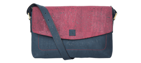 Alayna Pouch Bag - Maroon + Blue - Rudder & Fern