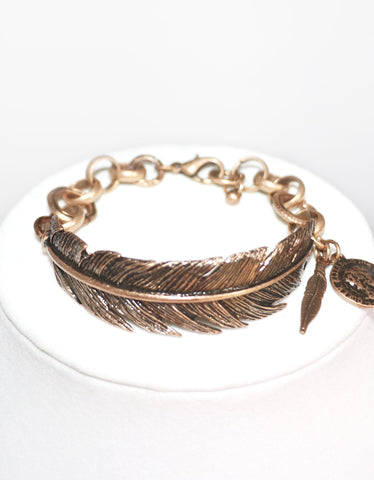 Antique Bronze Feather Bracelet