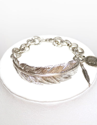 Antique Silver Feather Bracelet