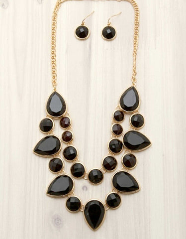 Layered Stone Bib Necklace
