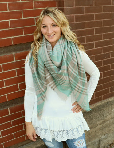 Gray & Mint Blanket Scarf