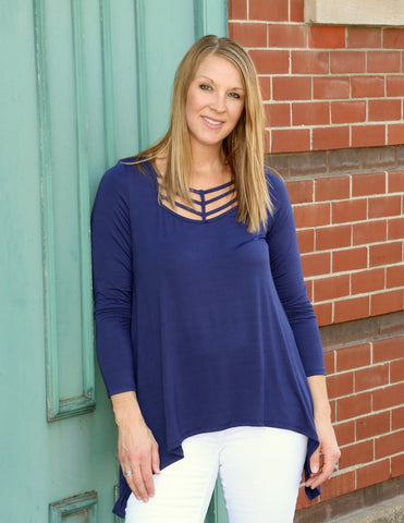 Navy top with neck detail