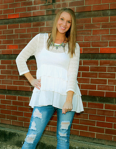 White Tiered Ruffle Top