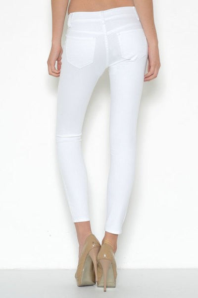 white, jean, jeans, Double button, rocker, skinny jean, mid-rise waist, unique, four zippers, double button closure, zipper accent