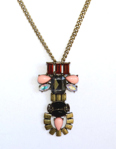 Antique Brass, Black, Peach, Necklace, long, tribal